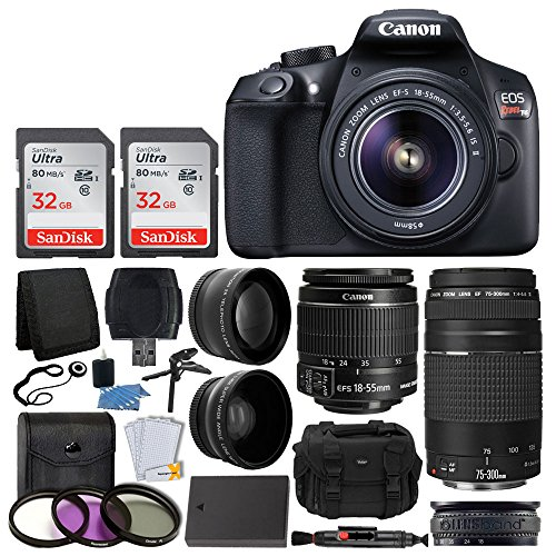 Kit includes: • canon eos rebel t6 dslr camera body • canon 18-55mm ef-s is lens • canon ef 75-300mm lens • telephoto lens 58mm • wide angle lens 58mm ...